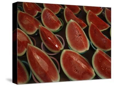 Watermelon Slices Sold at a Market-Todd Gipstein-Stretched Canvas Print