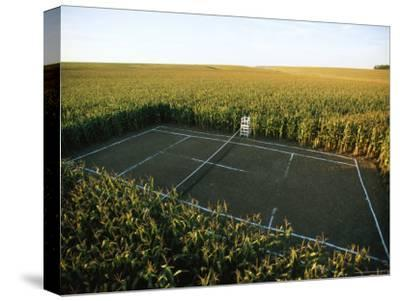 A Tennis Court Carved from a Cornfield-Joel Sartore-Stretched Canvas Print