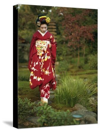 Kimono-Clad Geisha in a Park--Stretched Canvas Print