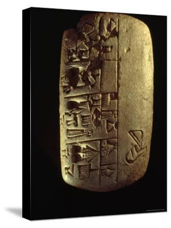 A Description of Commodities Written in Cuneiform on a Mesopotamian Clay Tablet-Lynn Abercrombie-Stretched Canvas Print