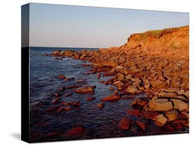 The Almost Unnatural Red of Rocks of Island Light up at Sunset, Prince Edward Island, Canada-Taylor S^ Kennedy-Stretched Canvas Print