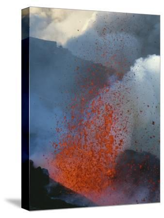 A Violent Eruption of Lava Spews High into the Air on Mount Etna-Peter Carsten-Stretched Canvas Print