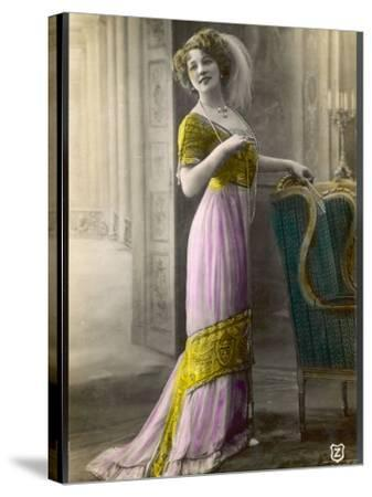 The Directoire, Empire Silhouette: High-Waisted Pink and Gold Gown with an Embroidered Corsage--Stretched Canvas Print