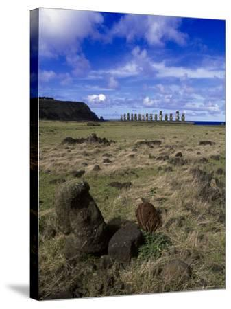 Moai at Ahu Tongariki, Easter Island, Chile-Angelo Cavalli-Stretched Canvas Print