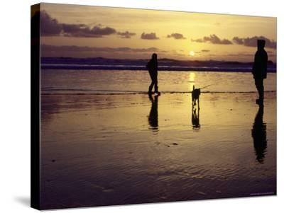 Family with Dog at Sunset, Cape Sebastian, OR-Jim Corwin-Stretched Canvas Print