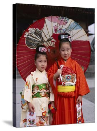 Girls Dressed in Kimono, Shichi-Go-San Festival (Festival for Three, Five, Seven Year Old Children)--Stretched Canvas Print