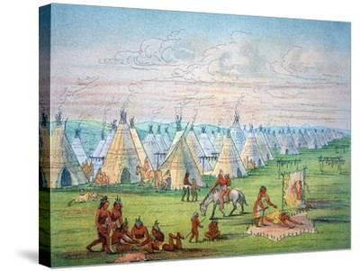 Sioux Camp Scene, 1841-George Catlin-Stretched Canvas Print