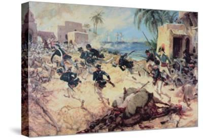 U.S. Marines Capture the Barbary Pirate Fortress at Derna, Tripoli, 27th April 1805-C^h^ Waterhouse-Stretched Canvas Print