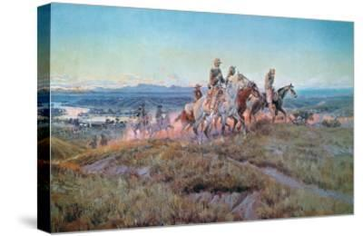 Riders of the Open Range-Charles Marion Russell-Stretched Canvas Print