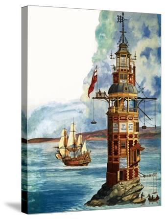 The First Eddystone Lighthouse-Peter Jackson-Stretched Canvas Print