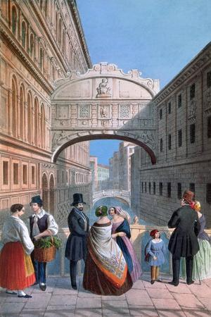 The Bridge of Sighs, Venice, Engraved by Brizeghel-Marco Moro-Stretched Canvas Print