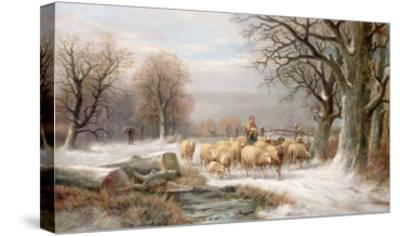 Shepherdess with Her Flock in a Winter Landscape-Alexis De Leeuw-Stretched Canvas Print