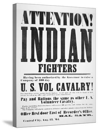 Recruitment Poster For the U.S. Volunteer Cavalry, 1864--Stretched Canvas Print