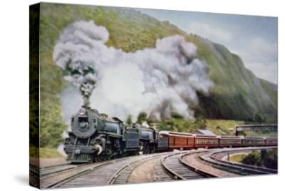 The New York to Chicago Express at the Horse-Shoe Curve, Alleghany, c.1930--Stretched Canvas Print