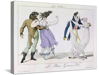 Couples Dancing the Waltz, from Le Bon Genre, c.1810--Stretched Canvas Print