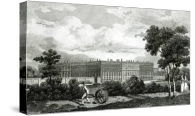 Rolling the Lawns at Hampton Court Palace, 7th March 1807--Stretched Canvas Print
