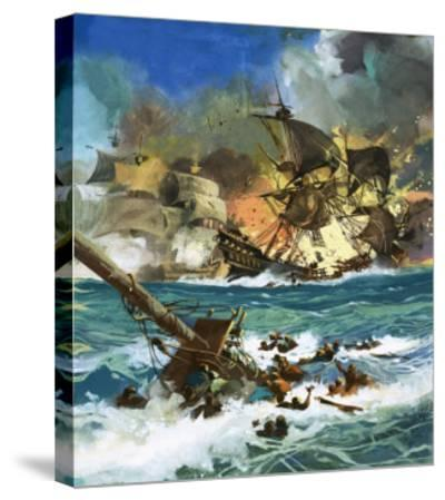 Unidentified Sailing Ship Exploding--Stretched Canvas Print