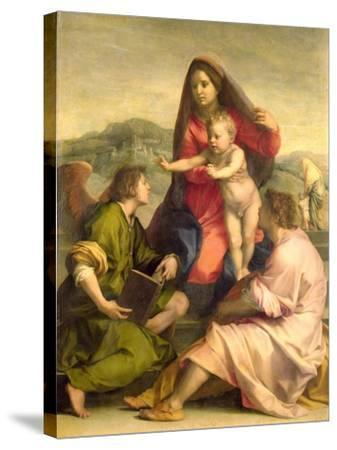 The Virgin and Child with a Saint and an Angel, c.1522-23-Andrea del Sarto-Stretched Canvas Print