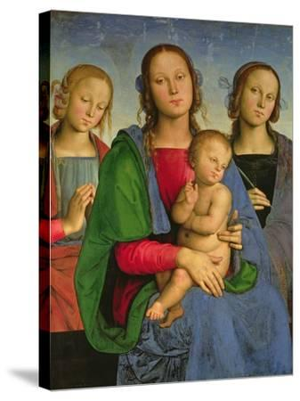 Madonna and Child with St. Catherine and St. Rosa, 1493-Pietro Perugino-Stretched Canvas Print