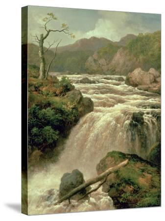 Waterfall on River Neath, South Wales-James Burrell Smith-Stretched Canvas Print