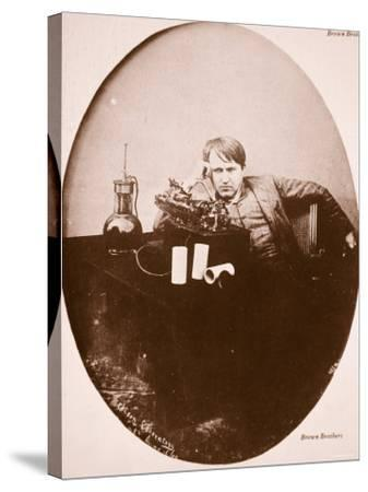Thomas A. Edison Sitting by His Improved Machine, 1889--Stretched Canvas Print