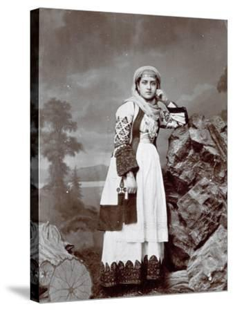 Full-Length Portrait of a Young Greek Woman in Traditional Attire. She is Wearing a Veil--Stretched Canvas Print