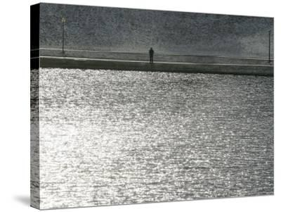 A Man Stands on the Banks of a Small Lake, Munich, on Friday, November 3, 2006.-Christof Stache-Stretched Canvas Print