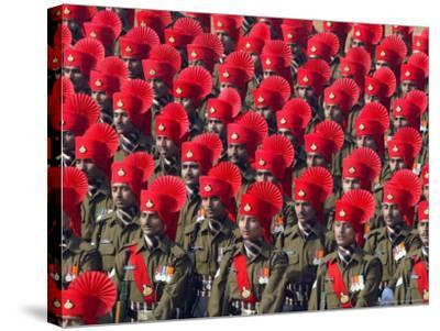 Security Personnel March at the Republic Day Parade in New Delhi, India, Friday, January 26, 2007-Mustafa Quraishi-Stretched Canvas Print