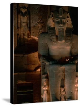 Temple Facade Details, Colossal Figures of Ramses II, New Kingdom, Abu Simbel, Egypt-Kenneth Garrett-Stretched Canvas Print
