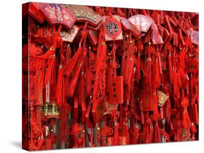 Placques Adorn the Fence of the Four Gates Buddhist Temple, Shandong Province, Jinan, China-Bruce Behnke-Stretched Canvas Print