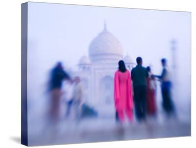Pink Sari, Taj Mahal, India-Walter Bibikow-Stretched Canvas Print