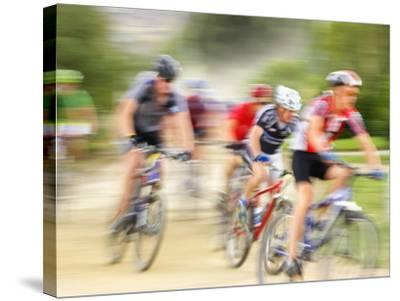 Mountain Bike Race, Bannockburn, near Cromwell, Central Otago, South Island, New Zealand-David Wall-Stretched Canvas Print