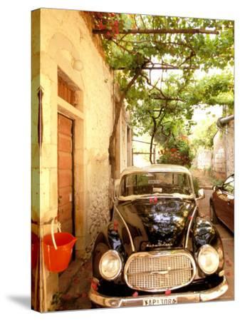 Old Automobile Sedan, Kardamyli, Messina, Peloponnese, Greece-Walter Bibikow-Stretched Canvas Print