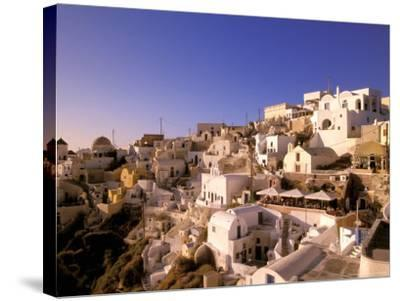Old Town in Late Afternoon, Santorini, Cyclades Islands, Greece-Walter Bibikow-Stretched Canvas Print