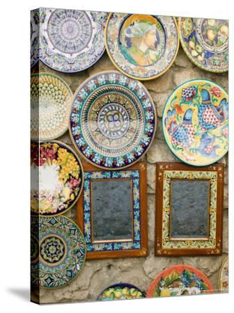 Ceramic Souvenirs, Ravello, Campania, Italy-Walter Bibikow-Stretched Canvas Print