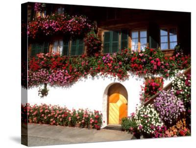 Flowers and Chalet in the Resort Area, Gstaad, Switzerland-Bill Bachmann-Stretched Canvas Print