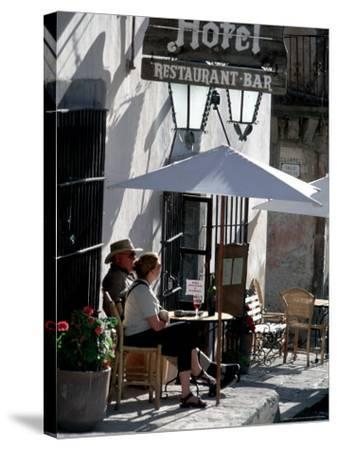 Tourists Drinking Outside a Hotel in Real de Catorce, Mexico-Alexander Nesbitt-Stretched Canvas Print