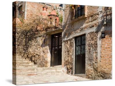 Cobblestone Steps in Hillside Neighborhood, Guanajuato, Mexico-Julie Eggers-Stretched Canvas Print