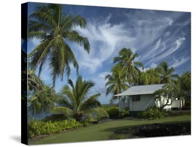 House at Kalahu Point near Hana, Maui, Hawaii, USA-Bruce Behnke-Stretched Canvas Print