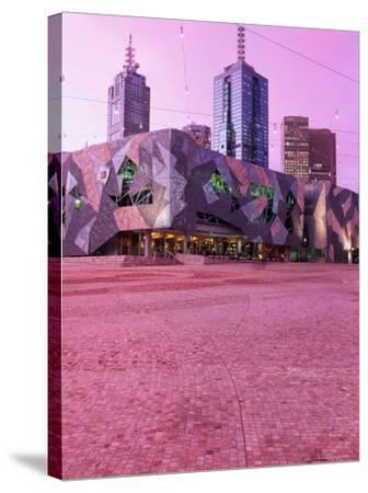 Federation Square at Dusk, Melbourne, Australia-John Banagan-Stretched Canvas Print