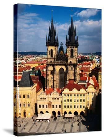 Tyn Church and Old Town Square Seen from Old Town Hall, Prague, Czech Republic-Jonathan Smith-Stretched Canvas Print