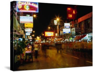 Street at Night, Thanon Khao San, Bangkok, Thailand-Ryan Fox-Stretched Canvas Print