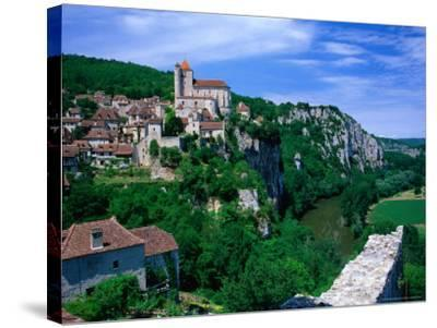 Clifftop Village Perched High Above the River Lot, St. Cirq Lapopie, Midi-Pyrenees, France-David Tomlinson-Stretched Canvas Print