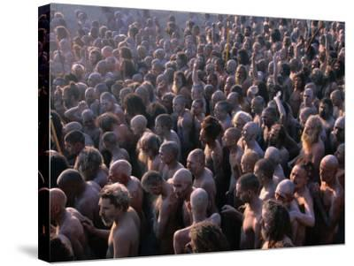 Crowds of Naga Sadhus During Maha Kumbh Mela Festival, Allahabad, India-Anders Blomqvist-Stretched Canvas Print