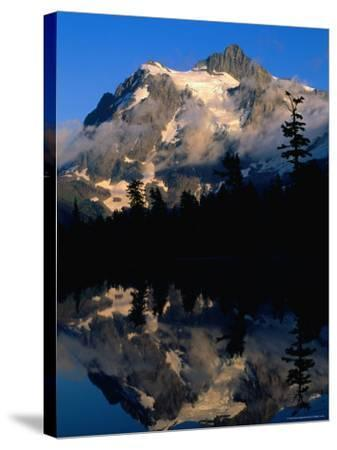 Mt. Shuksan Reflected on Picture Lake, Mt. Baker Scenic Byway, USA-John Elk III-Stretched Canvas Print