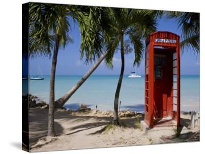 Caribbean, Antigua, Dickenson Bay, English Red Telephone Box-Gavin Hellier-Stretched Canvas Print