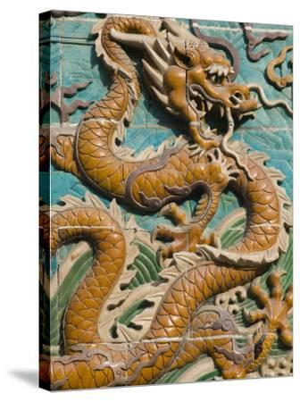 China, Beijing, Xicheng District, Behai Park, Detail of the Nine Dragon Screen-Walter Bibikow-Stretched Canvas Print