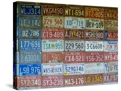 USA, Missouri, Route 66, Near Carthage, Car Number Plates-Alan Copson-Stretched Canvas Print