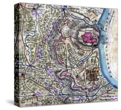 Battle of Fort Donelson - Civil War Panoramic Map-Lantern Press-Stretched Canvas Print