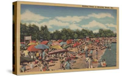 Beverley Beach, MD - Sunbathing Scene-Lantern Press-Stretched Canvas Print